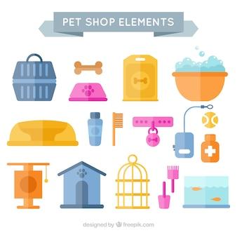 여러 개의 평평한 애완 동물 상점 요소
