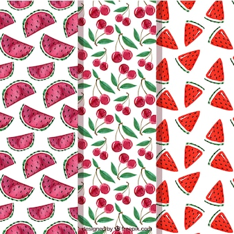 Several fruit patterns in watercolor style