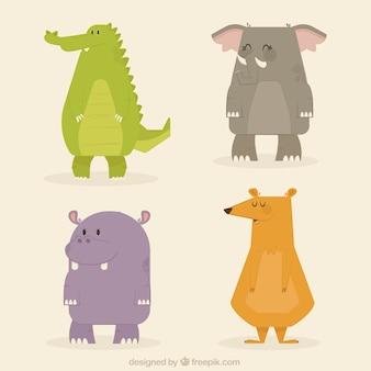 Several geometric animals in flat design