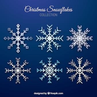 Diversi fiocchi di neve forme geometriche