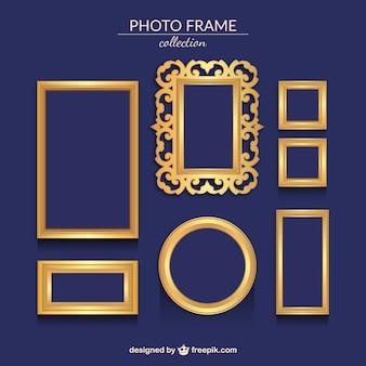Several golden ornamental photo frames