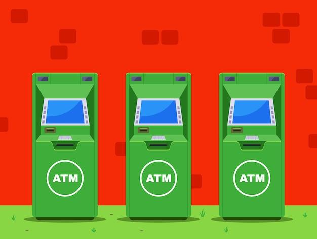 Несколько зеленых банкоматов на улице. плоская иллюстрация.