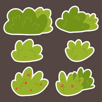 В наборе несколько зеленых кустов с цветами. кусты в мультяшном стиле для оформления открытки.