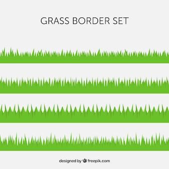 フラットデザインのいくつかの緑の芝生の境界線