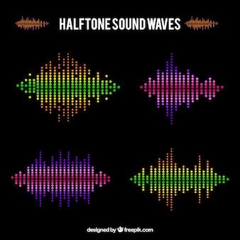Several halftone sound waves