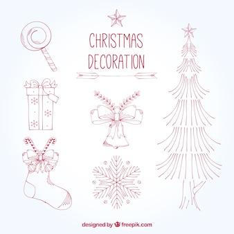 いくつかの手クリスマス要素描か