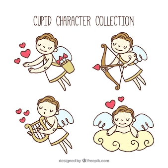 Several hand-drawn cupid characters