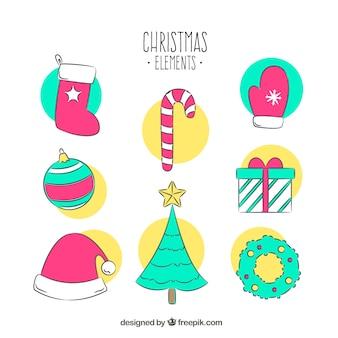 Several hand drawn decorative christmas elements