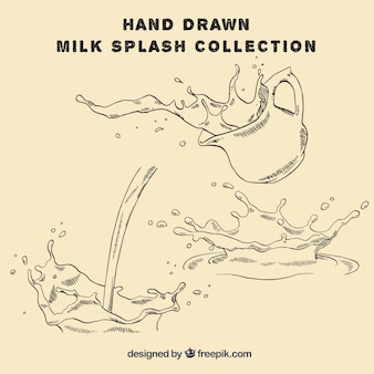 Several hand-drawn milk splashes