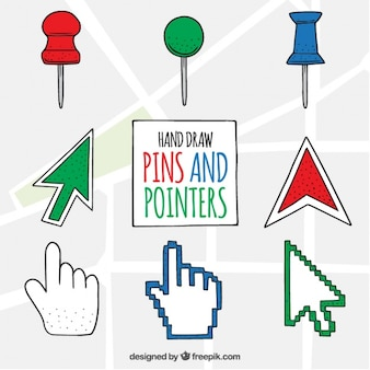 Diversi disegnati a mano puntatori a colori