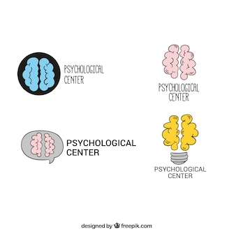 Several hand-drawn psychology logos with decorative brain