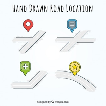 Several hand-drawn road location