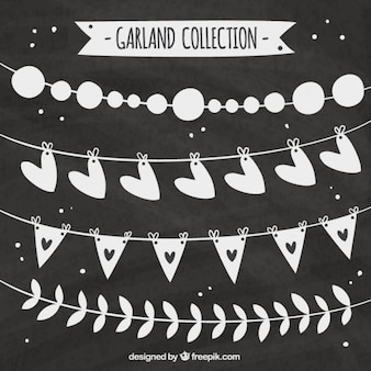 Several hand-drawn vintage garlands