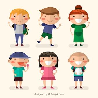 Several happy children in flat design