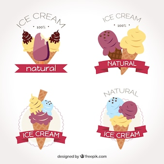 Diverse etichette di gelato con nastri decorativi