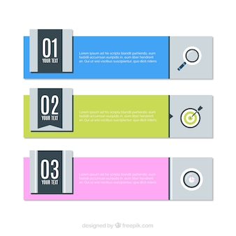 Several infographic banners in flat design
