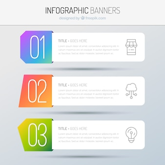 Several infographic banners with colorful shapes