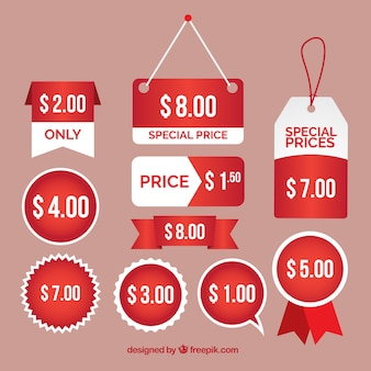 Several labels and special prices stickers