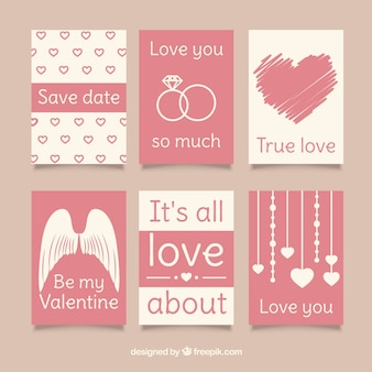 Several love cards in pastel colors