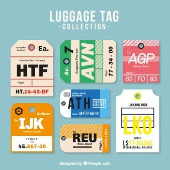 フラットなデザインのいくつかの荷物タグ