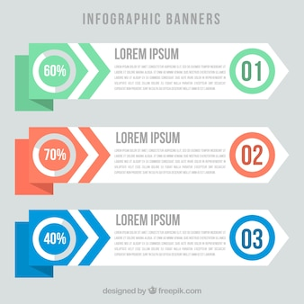 Several modern infographic banners