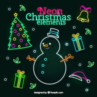 いくつかのネオンのクリスマスの要素