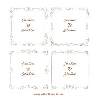 Several ornamental frames for weddings