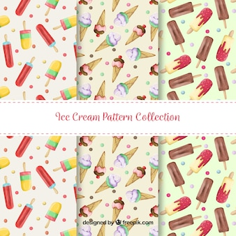 Several patterns with colored ice creams