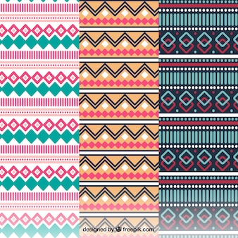 Several patterns with colorful shapes in flat design