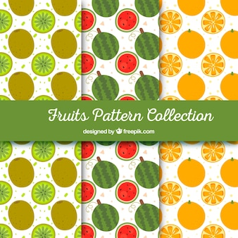Several patterns with pieces of fruit