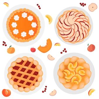 여러 파이, 사과 파이, 호박 파이, 베리 파이, 복숭아 파이. 통째로 잘게 잘린 사과, 호박, 복숭아, 딸기가 도처에 있습니다. 흰색 배경에 고립.