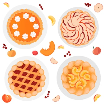 Several pies, apple pie, pumpkin pie, berry pie, peach pie. whole and chopped apples, pumpkins, peaches and berries are all around. isolated on white background.