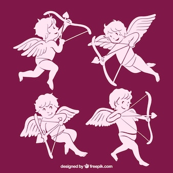 Several pink cupids with arrow and bow