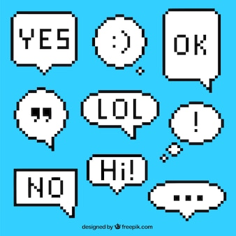 Several pixelated dialog balloons with expressions