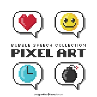 Several pixelated speech bubbles with drawings inside