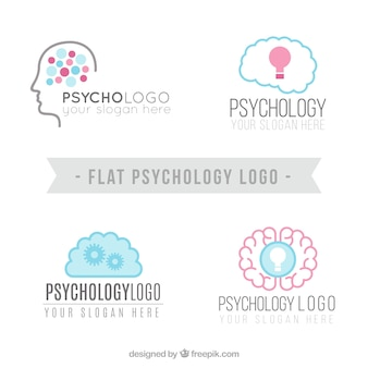 Several psychology logos in flat design