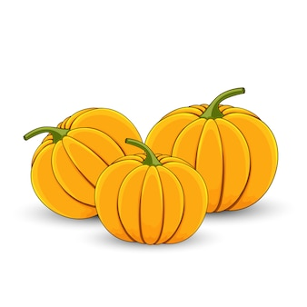 Several pumpkins on a white isolated background cartoon