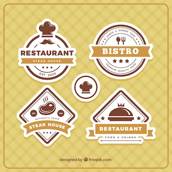 Several restaurant logos in brown tones