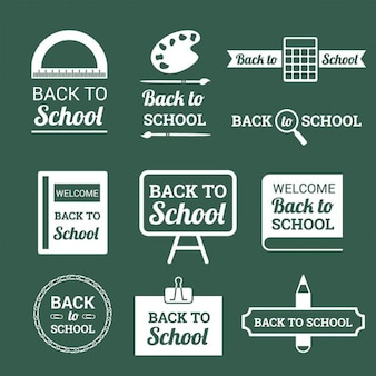 Several retro badges of back to school