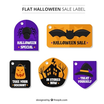 Several sale labels of halloween