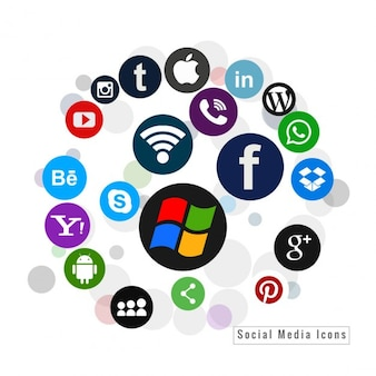 Several social media icons in colors