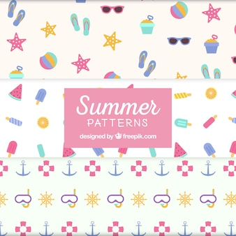 Several summer patterns in pastel colors