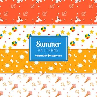 フラットデザインのアイテムを含むいくつかの夏のパターン