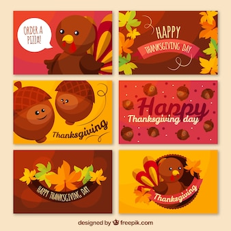 Several thanksgiving cards with characters