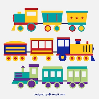Several toy trains with great colors