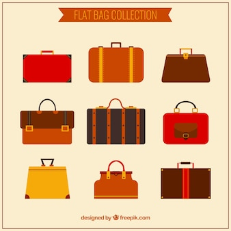 Several types of flat briefcases in brown tones
