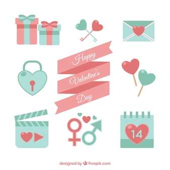 Several valentine's elements in pastel colors