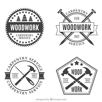 Several vintage carpentry badges