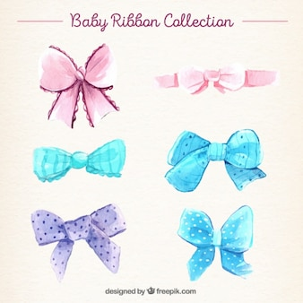 Several watercolor baby ribbons with different designs