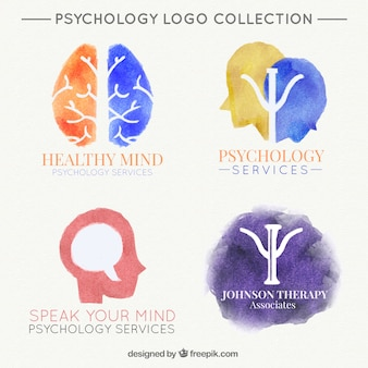 Several watercolor logos for psychological clinic
